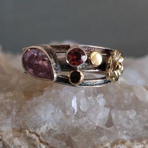 Jewelry - Kunzite & Garnet Sterling Silver Ring